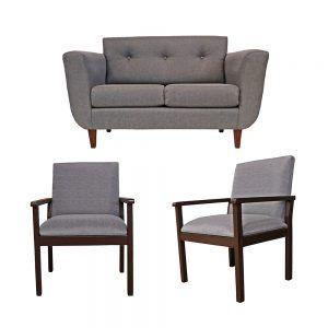 Living Agora Sofa 2 Cuerpos 2 Sitiales Gris 1