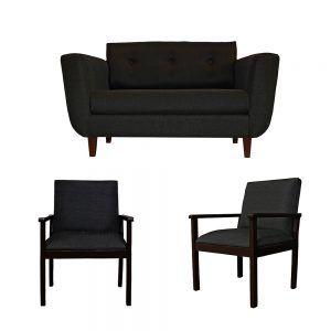 Living Agora Sofa 2 Cuerpos 2 Sitiales Gris Oscuro 1