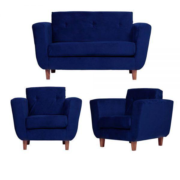 Living Agora Sofa 2 Cuerpos Sillones Azul 1