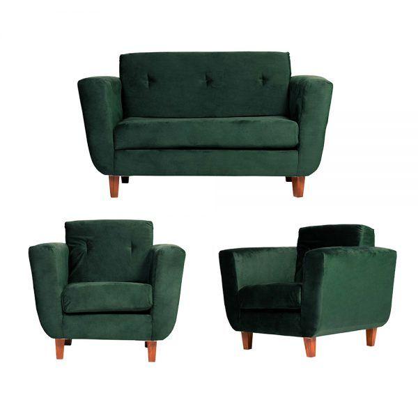 Living Agora Sofa 2 Cuerpos Sillones Verde 1