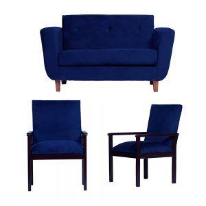 Living Agora Sofa 2 Cuerpos Sitiales Azul 1