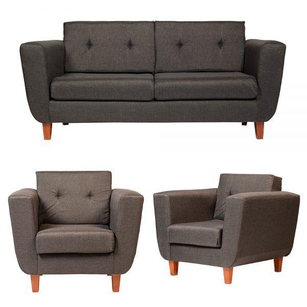 Living Agora Sofa 3 Cuerpos 2 Sillones Gris Oscuro 1