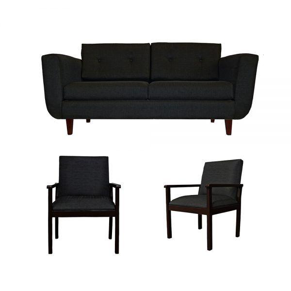 Living Agora Sofa 3 Cuerpos 2 Sitiales Gris Oscuro 1