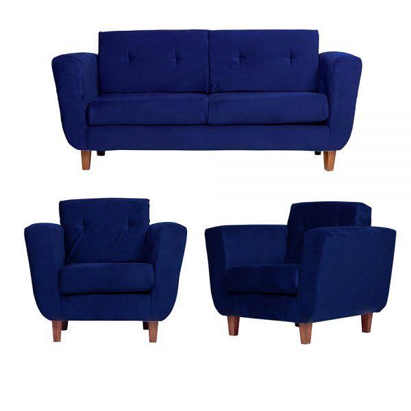 Living Agora Sofa 3 Cuerpos Sillones Azul 1