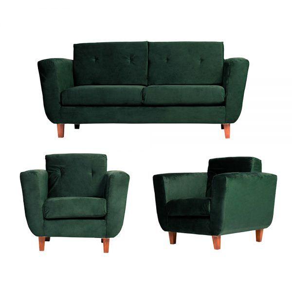 Living Agora Sofa 3 Cuerpos Sillones Verde 1