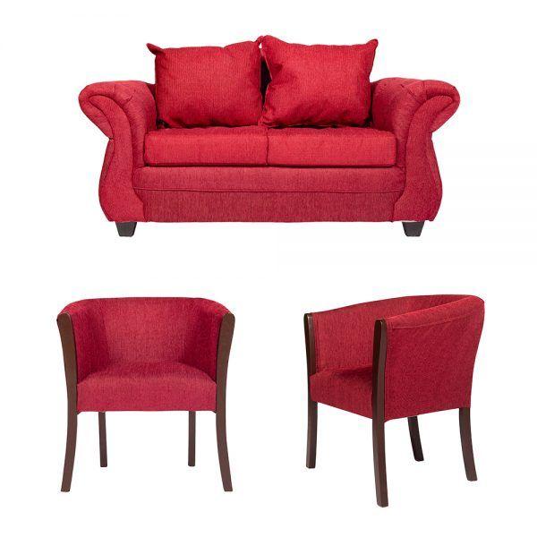 Living Bertolucci Sofa 2 Cuerpos 2 Poltronas Rojo 1