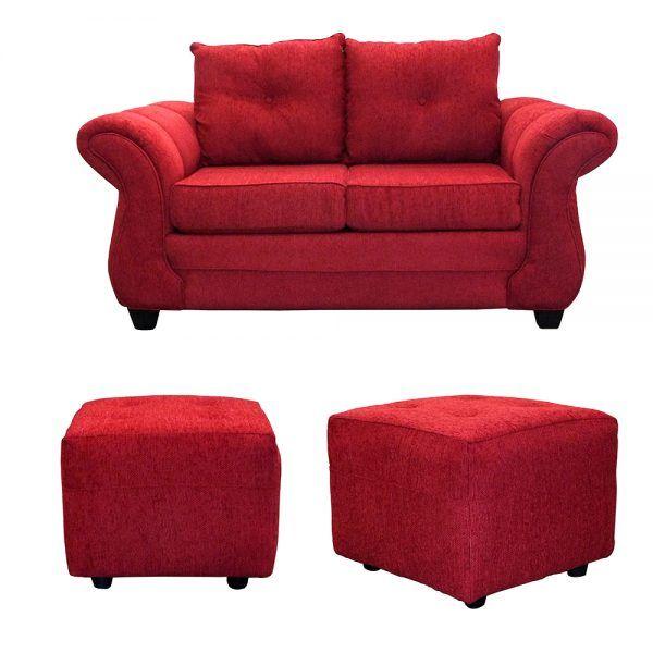 Living Bertolucci Sofa 2 Cuerpos 2 Pouf Rojo 1