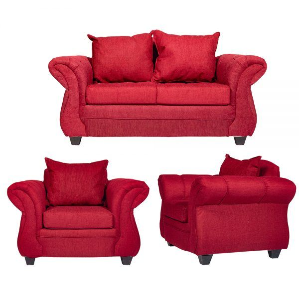 Living Bertolucci Sofa 2 Cuerpos 2 Sillones Rojo 1