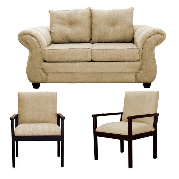 Living Bertolucci Sofa 2 Cuerpos 2 Sitiales Beige 1