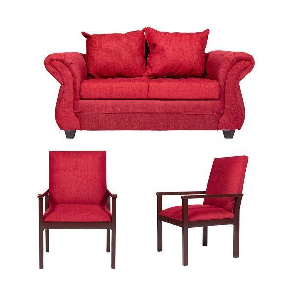 Living Bertolucci Sofa 2 Cuerpos 2 Sitiales Rojo 1