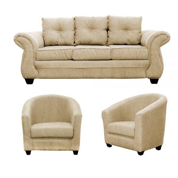 Living Bertolucci Sofa 3 Cuerpos 2 Butacas Beige 1