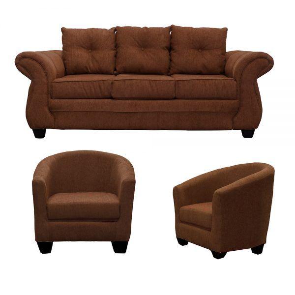 Living Bertolucci Sofa 3 Cuerpos 2 Butacas Cafe 1