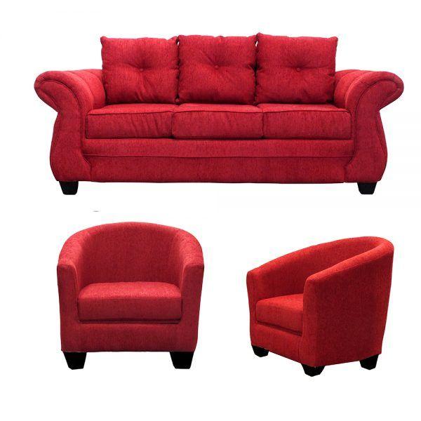 Living Bertolucci Sofa 3 Cuerpos 2 Butacas Rojo 1