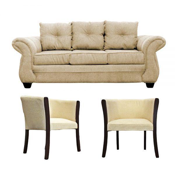 Living Bertolucci Sofa 3 Cuerpos 2 Poltronas Beige 1