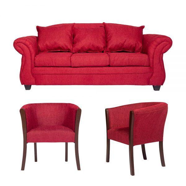 Living Bertolucci Sofa 3 Cuerpos 2 Poltronas Rojo 1