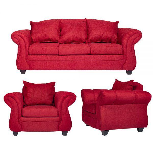 Living Bertolucci Sofa 3 Cuerpos 2 Sillones Rojo 1