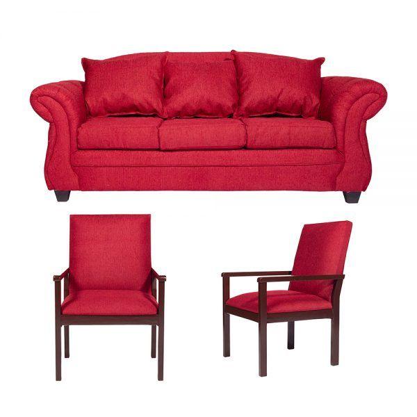 Living Bertolucci Sofa 3 Cuerpos 2 Sitiales Rojo 1