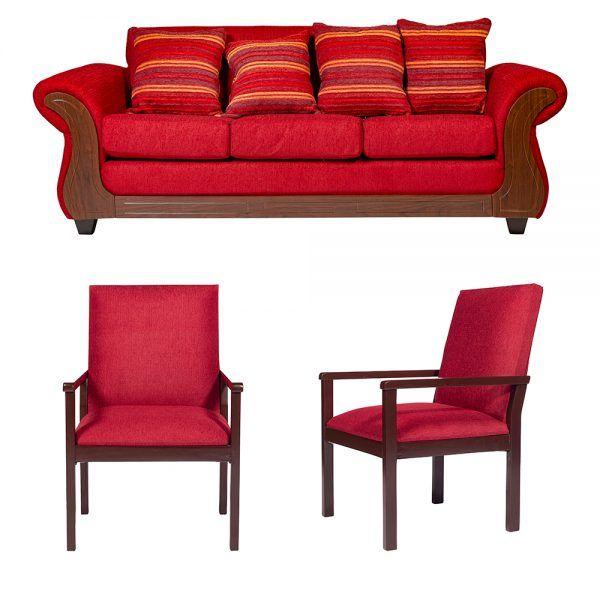 Living Candy Sofa 3 Cuerpos 2 Sitiales Rojo 1