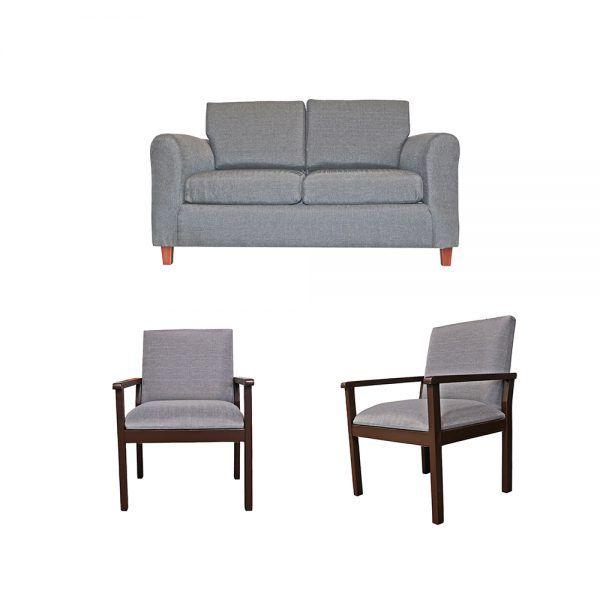 Living Delfos Sofa 2 Cuerpos 2 Sitiales Gris 1