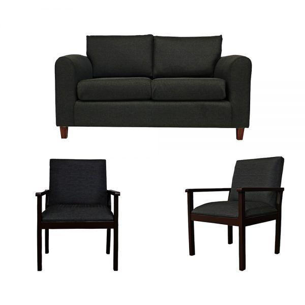 Living Delfos Sofa 2 Cuerpos 2 Sitiales Gris Oscuro 1