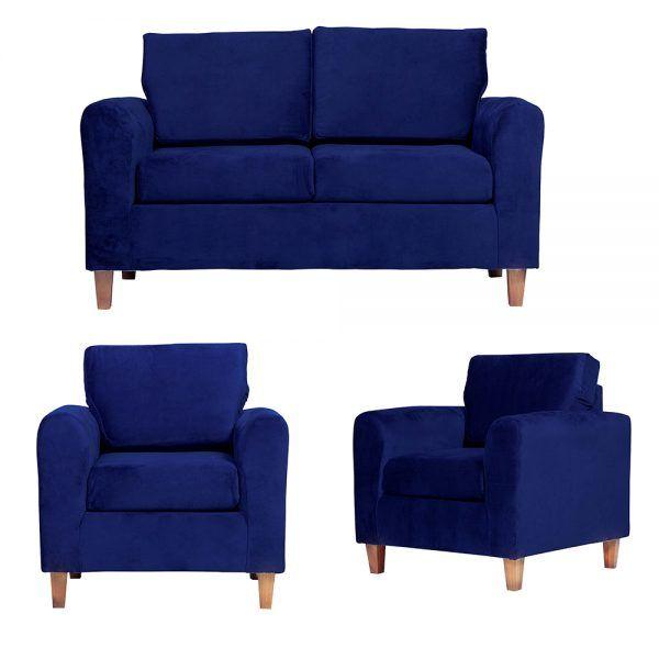 Living Delfos Sofa 2 Cuerpos Sillones Azul 1