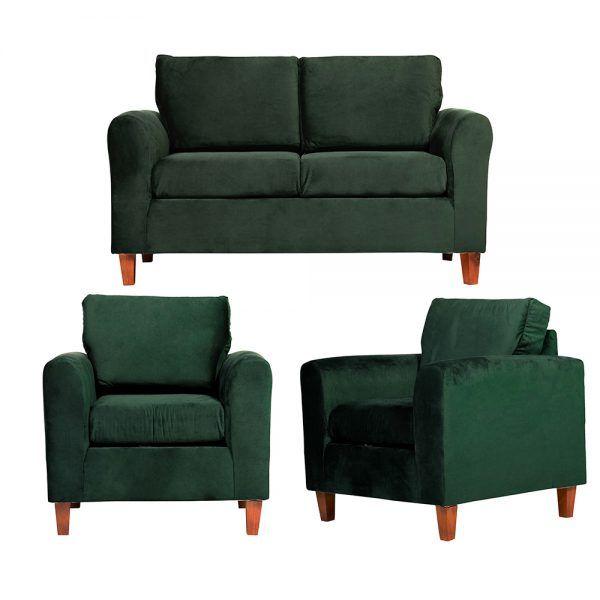 Living Delfos Sofa 2 Cuerpos Sillones Verde 1