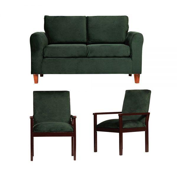 Living Delfos Sofa 2 Cuerpos Sitiales Verde 1