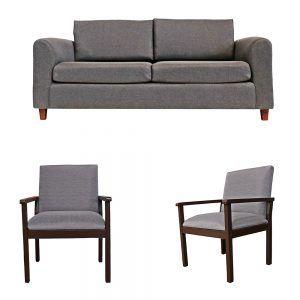 Living Delfos Sofa 3 Cuerpos 2 Sitiales Gris 1