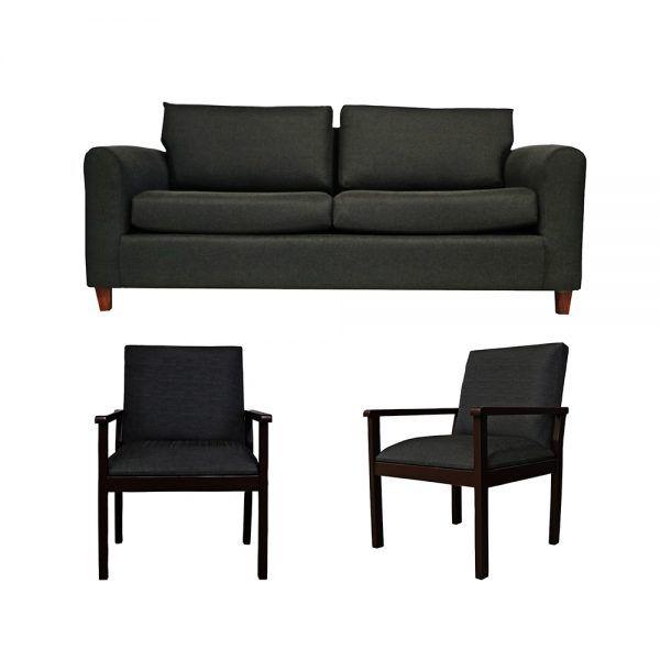 Living Delfos Sofa 3 Cuerpos 2 Sitiales Gris Oscuro 1
