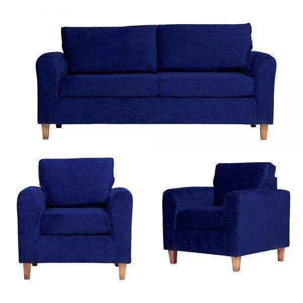Living Delfos Sofa 3 Cuerpos Sillones Azul 1