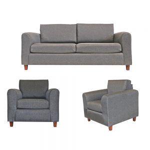 Living Delfos Sofa 3 Cuerpos Sillones Gris 1