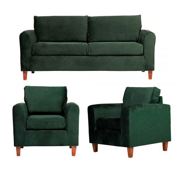 Living Delfos Sofa 3 Cuerpos Sillones Verde 1