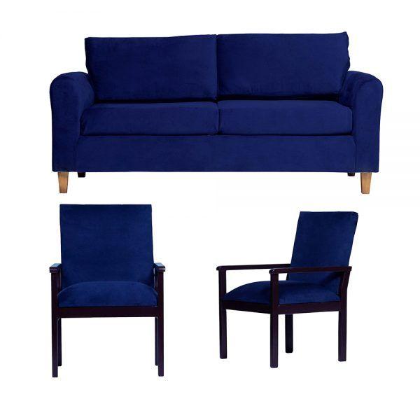 Living Delfos Sofa 3 Cuerpos Sitiales Azul 1