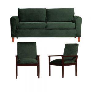Living Delfos Sofa 3 Cuerpos Sitiales Verde 1