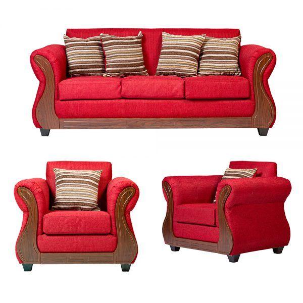 Living Facundo Sofa 3 Cuerpos 2 Sillones Rojo 1