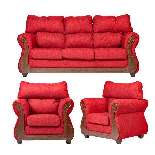 Living Galileo Sofa 3 Cuerpos 2 Sillones Rojo 1