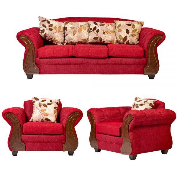 Living Livorno Sofa 3 Cuerpos 2 Sillones Rojo 1