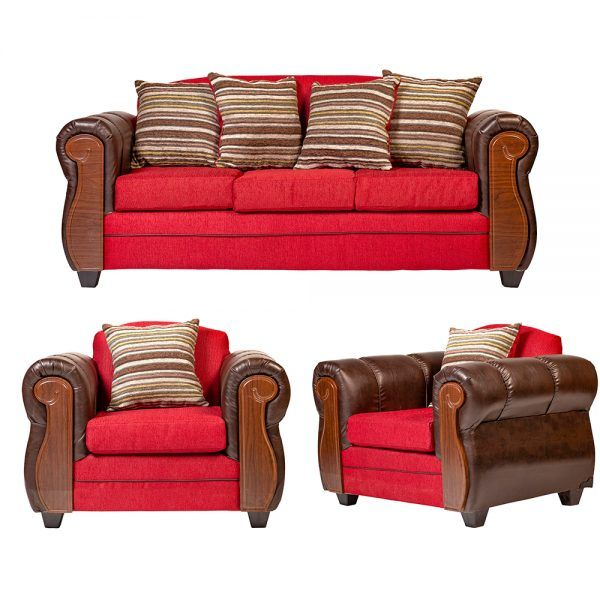 Living London Sofa 3 Cuerpos 2 Sillones Rojo 1
