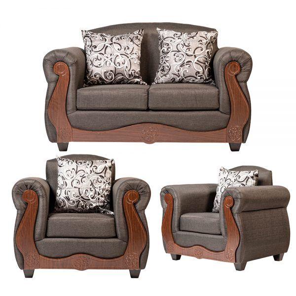 Living Merida Sofa 2 Cuerpos 2 Sillones Gris 1