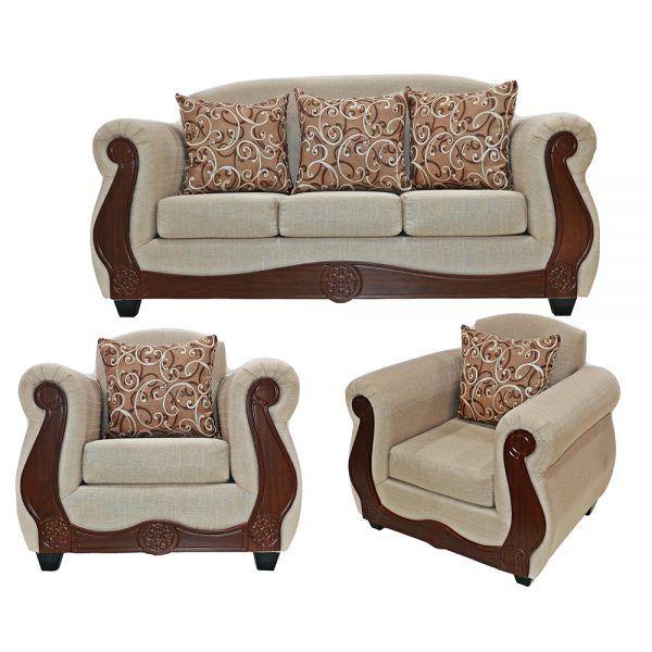 Living Merida Sofa 3 Cuerpos 2 Sillones Beige 1