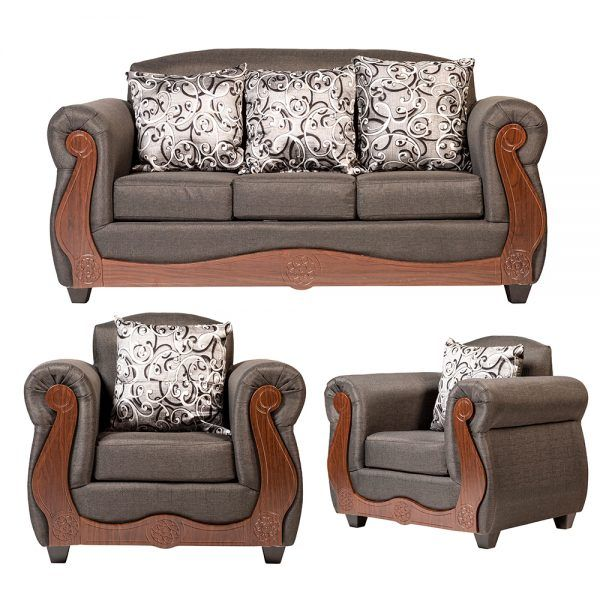 Living Merida Sofa 3 Cuerpos 2 Sillones Gris 1
