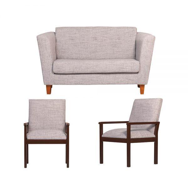 Living Miconos Sofa 2 Cuerpos 2 Sitiales Gris 1
