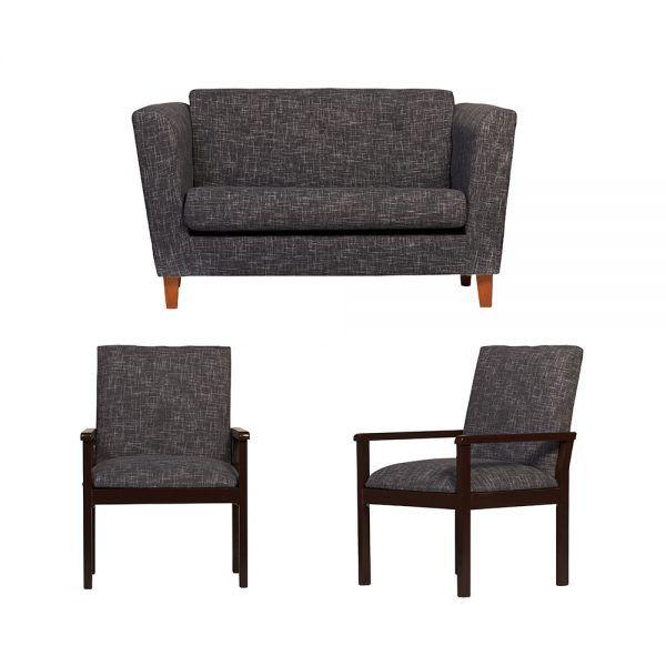 Living Miconos Sofa 2 Cuerpos 2 Sitiales Gris Oscuro 1