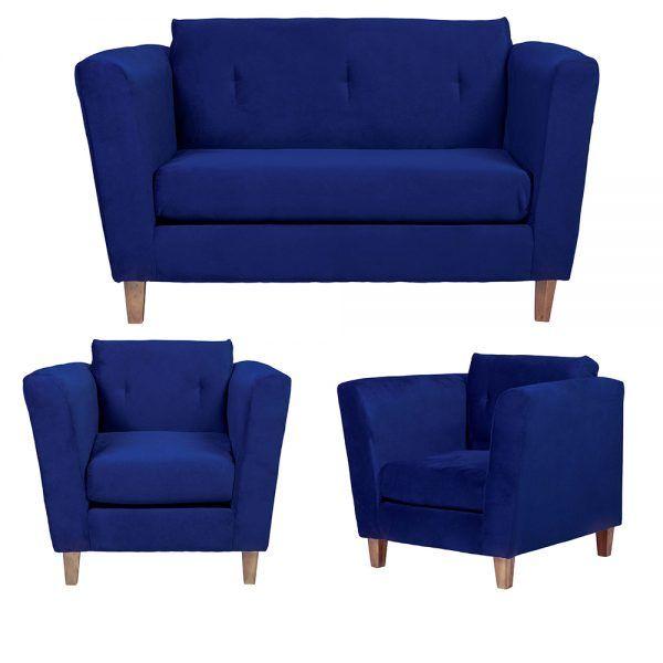 Living Miconos Sofa 2 Cuerpos Sillones Azul 1