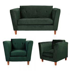 Living Miconos Sofa 2 Cuerpos Sillones Verde 1