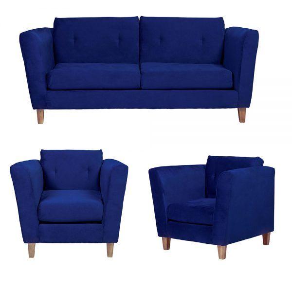Living Miconos Sofa 3 Cuerpos Sillones Azul 1