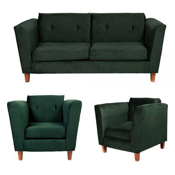Living Miconos Sofa 3 Cuerpos Sillones Verde 1
