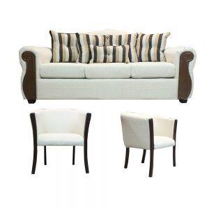 Living Monaco Sofa 3 Cuerpos 2 Poltronas Beige 1