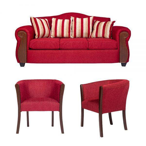 Living Monaco Sofa 3 Cuerpos 2 Poltronas Rojo 1