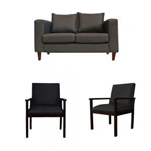 Living Naxos Sofa 2 Cuerpos 2 Sitiales Gris Oscuro 1